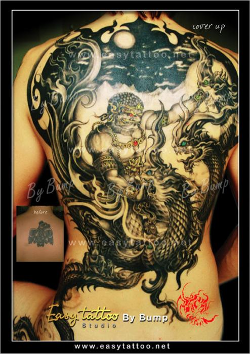 neo thai style tattoo notice the shading on the scales of